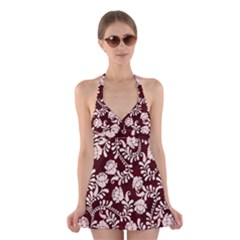 Flower Leaf Pink Brown Floral Halter Swimsuit Dress