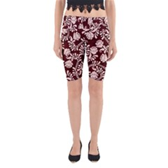 Flower Leaf Pink Brown Floral Yoga Cropped Leggings by Alisyart