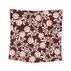 Flower Leaf Pink Brown Floral Square Tapestry (small)