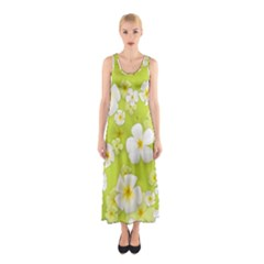 Frangipani Flower Floral White Green Sleeveless Maxi Dress