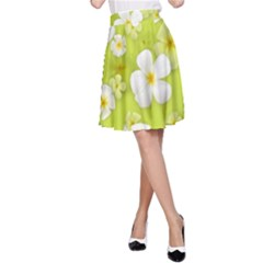 Frangipani Flower Floral White Green A Line Skirt