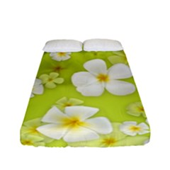 Frangipani Flower Floral White Green Fitted Sheet (full/ Double Size)