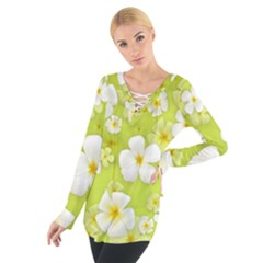 Frangipani Flower Floral White Green Women s Tie Up Tee