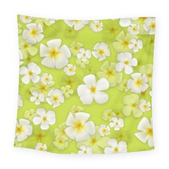 Frangipani Flower Floral White Green Square Tapestry (large)
