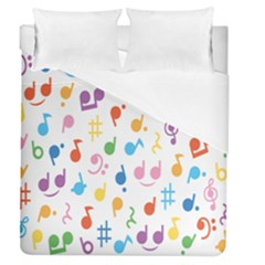 Notes Tone Music Purple Orange Yellow Pink Blue Duvet Cover (queen Size)