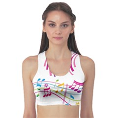 Musical Notes Pink Sports Bra