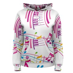 Musical Notes Pink Women s Pullover Hoodie
