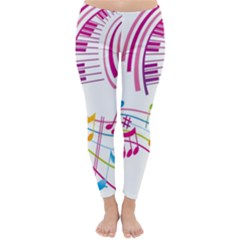 Musical Notes Pink Classic Winter Leggings