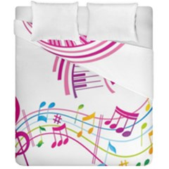 Musical Notes Pink Duvet Cover Double Side (california King Size)