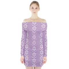 Flower Star Purple Long Sleeve Off Shoulder Dress