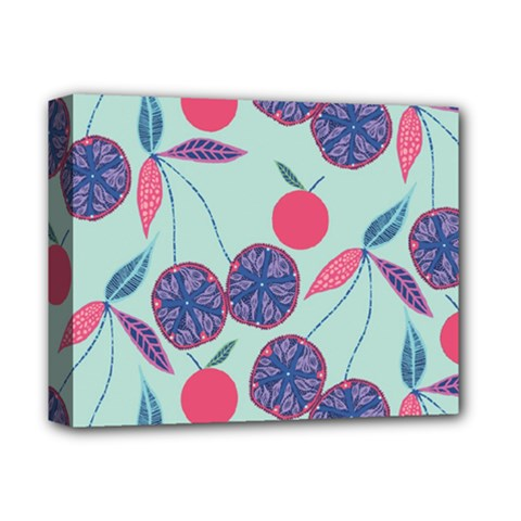 Passion Fruit Pink Purple Cerry Blue Leaf Deluxe Canvas 14  X 11