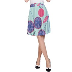 Passion Fruit Pink Purple Cerry Blue Leaf A Line Skirt