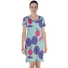 Passion Fruit Pink Purple Cerry Blue Leaf Short Sleeve Nightdress by Alisyart