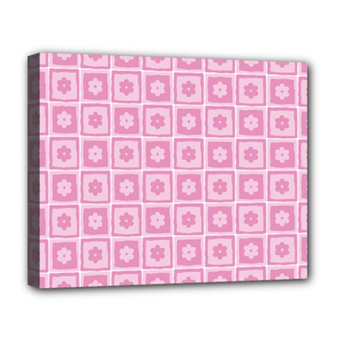 Plaid Floral Flower Pink Deluxe Canvas 20  X 16   by Alisyart