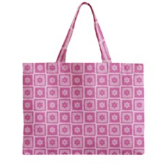 Plaid Floral Flower Pink Zipper Mini Tote Bag