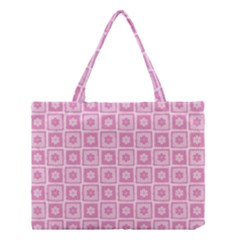 Plaid Floral Flower Pink Medium Tote Bag