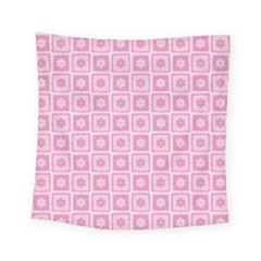Plaid Floral Flower Pink Square Tapestry (small)