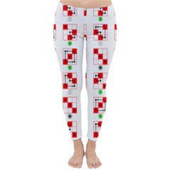 Permutations Dice Plaid Red Green Classic Winter Leggings