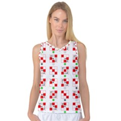 Permutations Dice Plaid Red Green Women s Basketball Tank Top