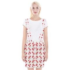 Permutations Dice Plaid Red Green Suspender Skirt