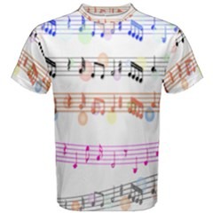 Notes Tone Music Rainbow Color Black Orange Pink Grey Men s Cotton Tee