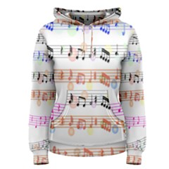 Notes Tone Music Rainbow Color Black Orange Pink Grey Women s Pullover Hoodie
