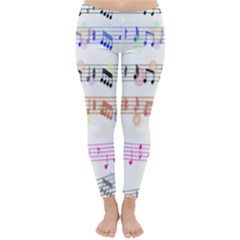 Notes Tone Music Rainbow Color Black Orange Pink Grey Classic Winter Leggings