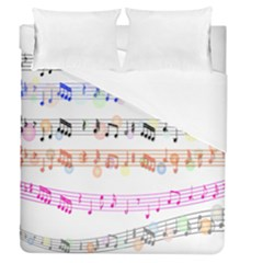 Notes Tone Music Rainbow Color Black Orange Pink Grey Duvet Cover (queen Size)