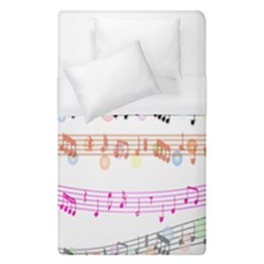 Notes Tone Music Rainbow Color Black Orange Pink Grey Duvet Cover (single Size) by Alisyart
