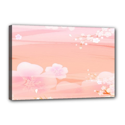 Season Flower Floral Pink Canvas 18  X 12
