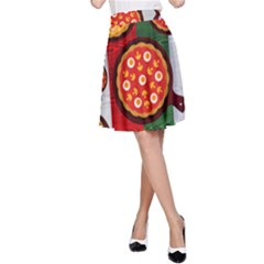 Pizza Italia Beef Flag A Line Skirt