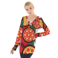 Pizza Italia Beef Flag Women s Tie Up Tee