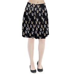 Goose Swan Gold White Black Fly Pleated Skirt
