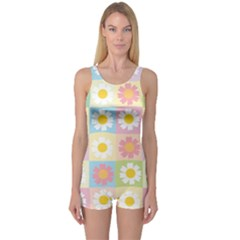 Season Flower Sunflower Blue Yellow Purple Pink One Piece Boyleg Swimsuit