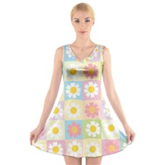 Season Flower Sunflower Blue Yellow Purple Pink V Neck Sleeveless Skater Dress by Alisyart