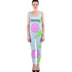 Spring Flower Tulip Floral Leaf Green Pink Onepiece Catsuit