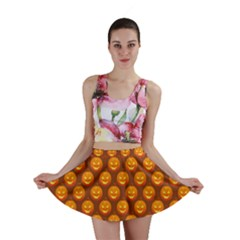 Pumpkin Face Mask Sinister Helloween Orange Mini Skirt
