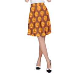 Pumpkin Face Mask Sinister Helloween Orange A-line Skirt by Alisyart
