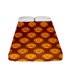 Pumpkin Face Mask Sinister Helloween Orange Fitted Sheet (full/ Double Size) by Alisyart