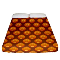 Pumpkin Face Mask Sinister Helloween Orange Fitted Sheet (queen Size) by Alisyart