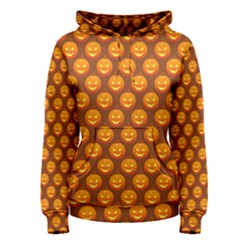 Pumpkin Face Mask Sinister Helloween Orange Women s Pullover Hoodie
