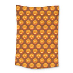 Pumpkin Face Mask Sinister Helloween Orange Small Tapestry by Alisyart