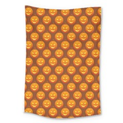 Pumpkin Face Mask Sinister Helloween Orange Large Tapestry by Alisyart