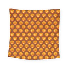 Pumpkin Face Mask Sinister Helloween Orange Square Tapestry (small) by Alisyart