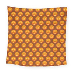 Pumpkin Face Mask Sinister Helloween Orange Square Tapestry (large) by Alisyart