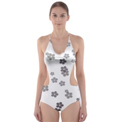 Flower Grey Jpeg Cut Out One Piece Swimsuit