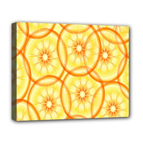 Lemons Orange Lime Circle Star Yellow Deluxe Canvas 20  X 16   by Alisyart