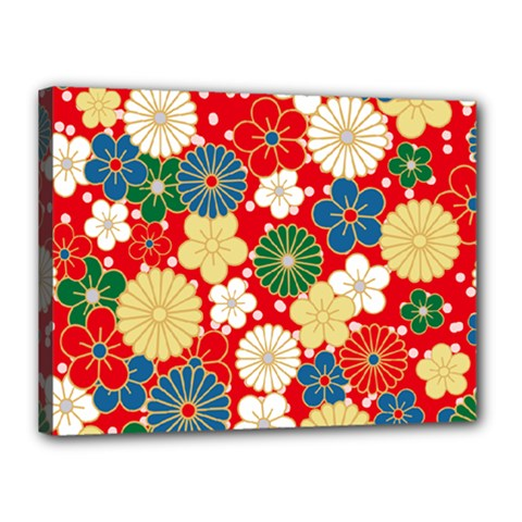 Season Flower Rose Sunflower Red Green Blue Canvas 16  X 12  by Alisyart