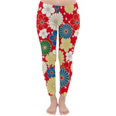 Season Flower Rose Sunflower Red Green Blue Classic Winter Leggings