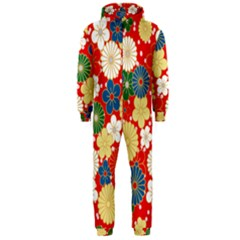 Season Flower Rose Sunflower Red Green Blue Hooded Jumpsuit (men)